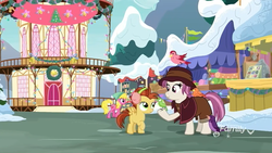 Size: 1280x720 | Tagged: safe, screencap, cherry berry, constance, heartfelt song, lemon crumble, bird, pegasus, pony, best gift ever, colt, discovery family logo, earmuffs, female, foal, friendship student, home alone, home alone 2: lost in new york, hyper sonic, kevin mccallister, male, mare, parody, pigeon lady, ponyville, ponyville town hall, raised hoof, snow, town hall