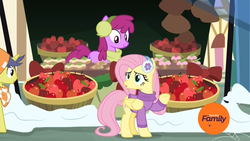 Size: 1920x1080   Tagged: safe, screencap, berry punch, berryshine, comet tail, fluttershy, earth pony, pegasus, pony, unicorn, best gift ever, :o, apple, baked goods, basket, bushel basket, clothes, cupcake, discovery family logo, earmuffs, female, food, male, mare, open mouth, scarf, smiling, snow, stallion, sweater, vendor, vendor stall