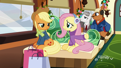 Size: 1920x1080 | Tagged: applejack, bag, bat, best gift ever, clothes, del griffith, discovery family logo, earmuffs, earth pony, female, fluttershy, hat, hearth's warming eve, john candy, male, mare, neal page, necktie, neighl page, pegasus, planes trains and automobiles, pony, pumpkin, safe, screencap, snow, spider, stallion, steve martin, suit, sweater, train, winter coat