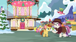 Size: 1920x1080 | Tagged: safe, screencap, berry blend, berry bliss, cherry berry, constance, heartfelt song, lemon crumble, bird, earth pony, pegasus, pony, best gift ever, christmas, christmas lights, christmas tree, colt, female, filly, friendship student, hearth's warming tree, holiday, home alone 2: lost in new york, hyper sonic, male, mare, pigeon lady, ponyville, ponyville town hall, snow, tree, wreath