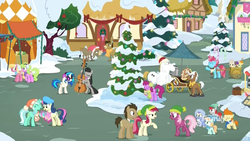 Size: 1920x1080 | Tagged: safe, screencap, alula, berry punch, berryshine, bon bon, bulk biceps, cheerilee, cranky doodle donkey, cup cake, daisy, dj pon-3, doctor whooves, flower wishes, gallop j. fry, lily, lily valley, lyra heartstrings, matilda, mochaccino, octavia melody, peach fuzz, pound cake, pumpkin cake, rare find, roseluck, sweetie drops, time turner, train tracks (character), vinyl scratch, earth pony, pegasus, pony, unicorn, best gift ever, beret, best friends, cake twins, cart, cello, christmas, christmas lights, cinnamon nuts, clothes, coat, decoration, earmuffs, female, flower trio, food, hat, headphones, hearth's warming tree, holiday, male, mare, musical instrument, nut cart, ponyville, santa hat, scarf, snow, stallion, tent, tree, vendor, vendor stall