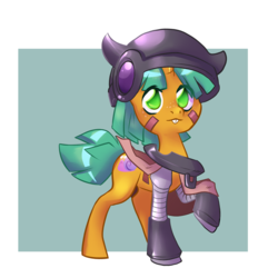 Size: 711x739 | Tagged: safe, artist:dinkelion, snails, pony, unicorn, clothes, colt, costume, crossover, glitter shell, helmet, made in abyss, male, solo
