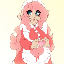 Size: 1275x1272 | Tagged: safe, artist:tolsticot, oc, oc only, oc:aime, anthro, deer, deer pony, original species, anthro oc, apron, barely pony related, clothes, female, heart eyes, heart hands, maid, solo, wingding eyes