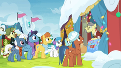 Size: 1920x1080 | Tagged: background pony, best gift ever, christmas, christmas lights, christmas sweater, clean sweep, clothes, cute, discovery family logo, disguise, earth pony, facial hair, fake moustache, female, fire, flam, flim, flim flam brothers, grin, happy, hat, heart pacer, helia, holiday, lightning bolt, looking up, love sketch, male, mare, moustache, neckerchief, pants, pegasus, pony, rainbow falls (location), safe, scarf, screencap, smiling, snow, squee, stallion, sweater, unicorn, unnamed pony, ushanka, vendor stall, warm front, white lightning, wide eyes, wig