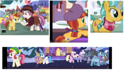 Size: 1920x1080 | Tagged: background pony, beret, best gift ever, bird, burning passion, cherry berry, cherry cola, cherry fizzy, citrine spark, constance, earmuffs, earth pony, female, filly, fire quacker, foal, friendship student, hat, heartfelt song, heart pacer, home alone 2: lost in new york, jade spade, lemon crumble, lightning bolt, love sketch, mare, mayor mare, millie, pegasus, pigeon lady, pony, roseluck, safe, screencap, snow, snowfall, the true gift of gifting, timestamp, unicorn, unnamed pony, white lightning