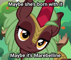 Size: 1214x1024 | Tagged: background kirin, cinder glow, commercial, cropped, cute, daaaaaaaaaaaw, edit, edited screencap, flarabetes, inverted mouth, kirin, maybelline, safe, screencap, smiling, solo, sounds of silence, spoiler:s08e23, summer flare, text, unnamed character