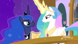 Size: 1920x1080 | Tagged: safe, screencap, princess celestia, princess luna, alicorn, pony, best gift ever, balcony, blanket, cute, cutelestia, discovery family logo, duo, duo female, ethereal mane, female, glowing horn, jewelry, looking at each other, lunabetes, magic, magic aura, mare, momlestia fuel, night, peytral, plant, regalia, royal sisters, sibling love, siblings, sisterly love, sisters, smiling, snow, snowfall, snowflake, starry mane, telekinesis