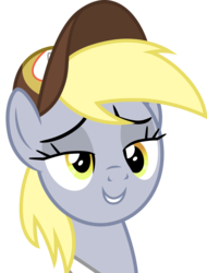 Size: 3000x3940   Tagged: safe, artist:cloudyglow, derpy hooves, pegasus, pony, best gift ever, .ai available, cap, clothes, female, hat, lidded eyes, mailmare, mare, simple background, smiling, solo, transparent background, vector