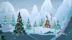 Size: 1920x1080 | Tagged: safe, screencap, best gift ever, background, candy, candy cane, christmas, christmas lights, discovery family logo, food, grove of the gift givers, hearth's warming tree, holiday, house, mountain, no pony, pine tree, snow, snowfall, streetlight, tree