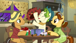 Size: 1920x1080 | Tagged: safe, screencap, butternut, oak nut, pistachio, earth pony, pony, best gift ever, acorn, acorn family, chair, cowboy hat, curtains, family, farm, farmhouse, female, hat, husband and wife, male, mare, oven, present, sitting, stallion, stove, sweet acorn orchard, table, teenager