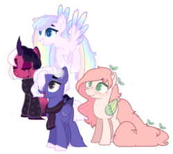 Size: 1024x909   Tagged: safe, artist:m-00nlight, oc, oc only, oc:darling, oc:marigold, oc:moonlight, oc:rainy, pegasus, pony, unicorn, clothes, colored wings, female, mare, multicolored wings, simple background, transparent background