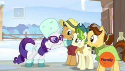 Size: 1920x1080 | Tagged: safe, screencap, butternut, oak nut, pistachio, rarity, earth pony, pony, unicorn, best gift ever, acorn family, boop, boots, clothes, cute, discovery family logo, dress, family, farm, farmhouse, female, glasses, hat, male, mare, quartet, scarf, shirt, shoes, snow, stallion, sunglasses, sweet acorn orchard, teenager