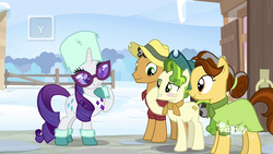 Size: 1920x1080 | Tagged: safe, screencap, butternut, oak nut, pistachio, rarity, earth pony, pony, unicorn, best gift ever, acorn family, blush sticker, blushing, boop, boots, clothes, cute, discovery family logo, dress, family, farm, farmhouse, female, glasses, grin, hat, male, mare, quartet, scarf, self-boop, shirt, shoes, smiling, snow, stallion, sunglasses, sweet acorn orchard, teenager