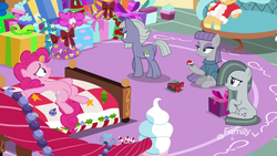 Size: 1920x1080 | Tagged: safe, screencap, boulder (pet), limestone pie, marble pie, maud pie, pinkie pie, earth pony, pony, best gift ever, bed, christmas, discovery family logo, female, hat, holiday, mare, pie sisters, pinkie's bedroom, present, santa hat, siblings, sisters, spread hooves, sugarcube corner
