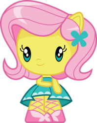 Size: 3000x3784 | Tagged: safe, artist:cloudyglow, fluttershy, butterfly, equestria girls, equestria girls series, chibi, clothes, cute, cutie mark crew, dress, female, part of a set, ponied up, shoes, shyabetes, simple background, skirt, smiling, solo, toy, transparent background, vector