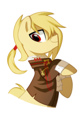 Size: 721x1075 | Tagged: artist:pepooni, blonde, buck legacy, jabot, male, oc, oc:gearmaster rochal, oc only, pony, ponytail, red eyes, safe, simple background, solo, transparent background, yellow hair