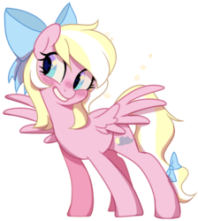 Size: 1420x1584 | Tagged: safe, artist:unichan, oc, oc only, oc:bay breeze, pegasus, pony, blushing, bow, cute, female, hair bow, happy, mare, simple background, smiling, solo, spread wings, tail bow, transparent background, wings, ych result