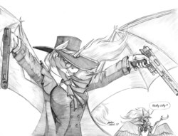 Size: 1400x1070   Tagged: safe, artist:baron engel, princess celestia, princess luna, anthro, alucard, clothes, costume, dual wield, duo, female, grayscale, hellsing, mare, monochrome, pencil drawing, royal sisters, sailor moon, simple background, sketch, smiling, traditional art, white background