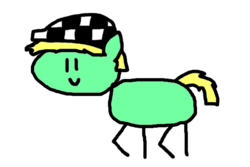 Size: 600x400 | Tagged: safe, oc, oc only, earth pony, pony, round trip's mlp season 8 in a nutshell, hat, male, ska, solo, stick pony, style emulation