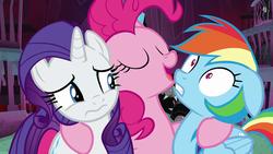 Size: 1280x720 | Tagged: safe, screencap, pinkie pie, rainbow dash, rarity, earth pony, pegasus, pony, unicorn, school raze, eyes closed, female, hug, mare, tartarus