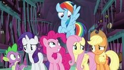 Size: 1280x720 | Tagged: safe, screencap, applejack, fluttershy, pinkie pie, rarity, spike, dragon, earth pony, pegasus, pony, school raze, cage, female, grin, male, mare, smiling, varying degrees of want, winged spike