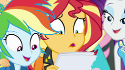 Size: 1920x1080 | Tagged: safe, screencap, rainbow dash, rarity, sunset shimmer, equestria girls, equestria girls series, forgotten friendship, female, geode of shielding, magical geodes, open mouth, reaction
