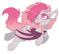 Size: 819x751 | Tagged: safe, artist:realfablepony, oc, oc only, oc:candy quartz, bat pony, pony, :p, bat pony oc, chest fluff, collar, cute, ear piercing, fangs, female, fluffy, flying, looking back, piercing, shaved mane, silly, simple background, solo, tongue out, transparent background, two toned mane, two toned wings, wing piercing, wings
