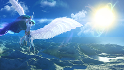 Size: 1920x1080   Tagged: safe, artist:etherium-apex, princess celestia, alicorn, pony, cloud, crown, female, flying, jewelry, mare, regalia, scenery, scenery porn, sky, solo, subsurface scattering, sun