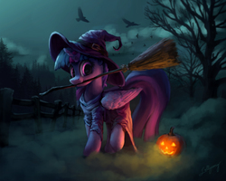 Size: 2000x1600 | Tagged: safe, artist:lollipony, twilight sparkle, alicorn, bird, crow, pony, :3, broom, clothes, costume, cute, dark, dress, featured image, female, fence, fog, forest, halloween, halloween costume, hat, holiday, horn, jack-o-lantern, looking at you, mare, mouth hold, night, nightmare night, nightmare night costume, nom, pose, pumpkin, raised hoof, raised leg, robes, scenery, silhouette, smiling, solo, spoopy, standing, tree, twiabetes, twilight sparkle (alicorn), wing fluff, wings, witch, witch hat