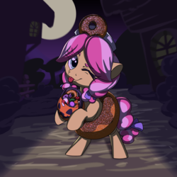 Size: 2000x2000 | Tagged: safe, artist:lockhe4rt, kettle corn, pony, clothes, costume, cute, donut, female, filly, food, full moon, halloween, halloween costume, hnnng, holiday, jack-o-lantern, moon, one eye closed, pumpkin, pumpkin bucket, solo, tongue out, wink