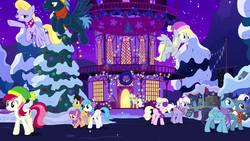 Size: 1280x720 | Tagged: background pony, best gift ever, cherry cola, cherry fizzy, cloud kicker, derpy hooves, earmuffs, earth pony, female, filly, flying, hat, hearth's warming tree, holiday, lightning bolt, male, mare, mayor mare, night, pegasus, pony, ponyville, ponyville town hall, roseluck, safe, screencap, snow, stallion, star hunter, the true gift of gifting, town hall, tree, white lightning, winter