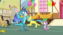 Size: 1280x720 | Tagged: banner, cherry cola, cherry fizzy, dragon, dragon lord ember, lemon hearts, pony, princess ember, safe, screencap, spike, town hall, triple threat