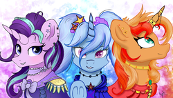 Size: 2560x1454 | Tagged: safe, artist:idrawspony, artist:ilynalta, starlight glimmer, sunset shimmer, trixie, pony, unicorn, alternate hairstyle, clothes, counterparts, ear piercing, female, horn jewelry, horn ring, jewelry, looking at you, mare, open collaboration, piercing, pigtails, smiling, trio, twilight's counterparts, underhoof