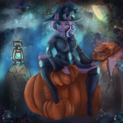 Size: 4000x4000 | Tagged: safe, artist:mdwines, derpibooru exclusive, oc, oc only, butterfly, pegasus, anthro, absurd resolution, anthro oc, big breasts, book, boots, breasts, cemetery, clothes, costume, female, forest, gears, green eyes, halloween, halloween costume, hat, holiday, jewelry, magic, moon, night, one eye closed, pumpkin, purple, runes, sexy, shoes, sitting, solo, wink, witch hat, ych result