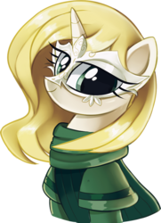Size: 627x867 | Tagged: artist:pepooni, blonde, blonde hair, buck legacy, eyelashes, female, green eyes, mask, mesmer, oc, oc only, pony, safe, simple background, solo, transparent background, unicorn, yellow hair