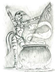 Size: 1000x1321   Tagged: safe, artist:baron engel, zecora, zebra, anthro, unguligrade anthro, armpits, beautiful, bikini, bikini bottom, bikini top, bracelet, breasts, cauldron, clothes, feather, female, fire, grayscale, jewelry, monochrome, pencil drawing, raised arm, raised arms, sexy, smiling, solo, spirit, staff, swimsuit, traditional art