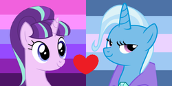 Size: 600x300 | Tagged: artist needed, safe, starlight glimmer, trixie, female, lesbian, shipping, startrix