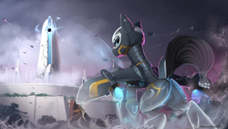 Size: 1920x1080 | Tagged: artist:discordthege, destiny (game), fantasy class, female, looking back, mare, oc, oc only, original species, plane, plane pony, pony, safe, scenery, smiling, warrior
