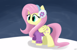 Size: 5100x3300 | Tagged: safe, artist:taurson, fluttershy, pegasus, pony, best gift ever, clothes, cute, earmuffs, female, folded wings, mare, shyabetes, smiling, snow, solo, standing, sweater, three quarter view, wings, winter, winter outfit