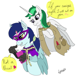 Size: 3337x3417 | Tagged: alicorn, artist:ghouleh, cellphone, clover the clever, dialogue balloon, disapproval, element of magic, hippogriff, implied facesitting, mask, oc, oc:kody, phone, ponytail, quill, reupload, rope, safe, scroll, simple background, talon, tinder, transparent background