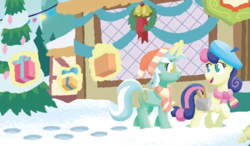 Size: 1759x1025   Tagged: safe, artist:tonyfleecs, bon bon, lyra heartstrings, sweetie drops, earth pony, pony, unicorn, best gift ever, spoiler:book, beret, best friends, book:best gift ever, christmas, christmas tree, clothes, duo, female, hat, hearth's warming eve, holiday, magic, mare, needs more jpeg, present, saddle bag, scarf, snow, telekinesis, tree