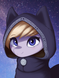 Size: 1587x2100 | Tagged: safe, artist:mrscroup, oc, oc only, oc:eathelin, pony, equestria at war mod, bust, cat ears, clothes, female, hood, looking at you, mare, portrait, smiling, solo, starry background, stars