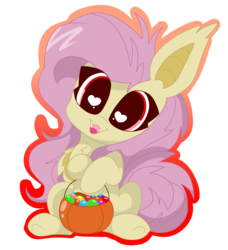 Size: 3207x3511 | Tagged: safe, artist:kittyrosie, fluttershy, bat pony, pony, cute, female, flutterbat, head tilt, heart eyes, looking at you, open mouth, outline, pumpkin, pumpkin bucket, race swap, shyabates, shyabetes, simple background, sitting, smiling, solo, transparent background, wingding eyes
