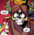 Size: 442x454 | Tagged: safe, artist:andypriceart, idw, smolder, yona, dragon, rabbit, yak, spoiler:comic, spoiler:comic71, cropped, domino mask, faic, red background, simple background, speech bubble