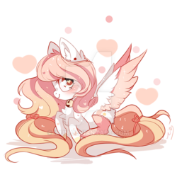Size: 600x600   Tagged: safe, artist:ipun, oc, oc only, pegasus, pony, bell, bell collar, blushing, clothes, collar, female, heart, heart eyes, mare, prone, simple background, socks, solo, stockings, thigh highs, white background, wingding eyes
