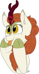 Size: 850x1590 | Tagged: artist:seafooddinner, autumn blaze, awwtumn blaze, bust, cute, female, kirin, :p, safe, silly, simple background, sounds of silence, tongue out, transparent background