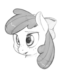 Size: 1073x1073   Tagged: safe, artist:trickydick, apple bloom, earth pony, pony, bust, freckles, solo, traditional art