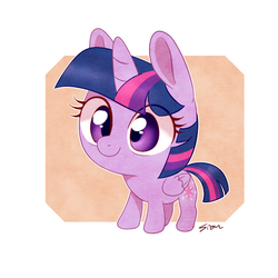 Size: 600x600 | Tagged: abstract background, alicorn, artist:sion, chibi, cute, female, mare, pony, safe, smiling, solo, twiabetes, twilight sparkle, twilight sparkle (alicorn)