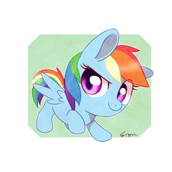 Size: 600x600 | Tagged: safe, artist:sion, rainbow dash, pegasus, pony, chibi, cute, dashabetes, female, mare, smiling, solo