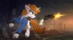 Size: 2350x1290 | Tagged: artist:yakovlev-vad, bandage, blood, clothes, cloud, cloudy, cutie mark, dead tree, fallout equestria, fanfic, fanfic art, female, floppy ears, glowing horn, gun, handgun, hooves, horn, levitation, little macintosh, magic, mare, oc, oc:littlepip, oc only, optical sight, pipbuck, pony, revolver, safe, shooting, sidemouth, solo, teeth, telekinesis, tree, unicorn, vault suit, wasteland, weapon